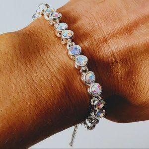 Jewelry - NEW! CRYSTAL AB ROUND STONE 925 SILVER TENNIS